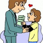 Child giving Father's Day card to Dad